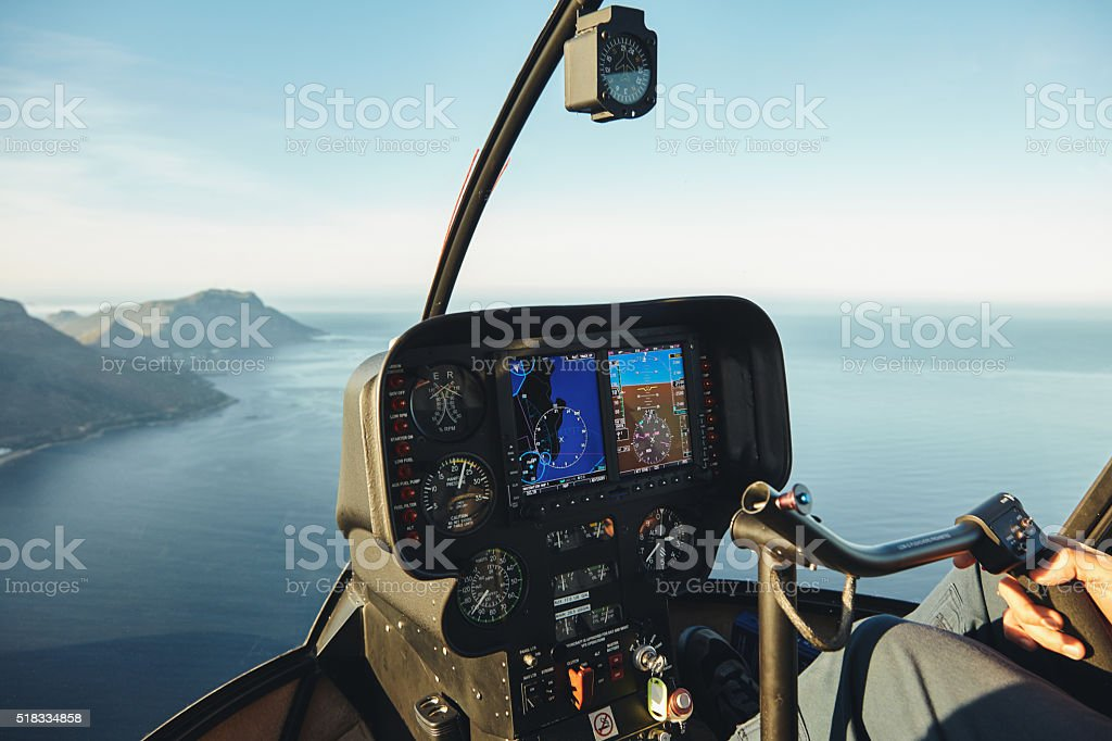 Helicopter cockpit with instruments panel stock photo