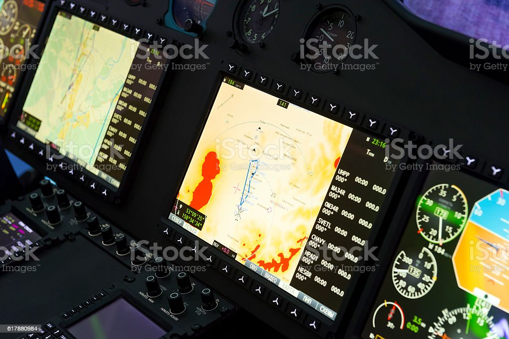 Helicopter control panel stock photo
