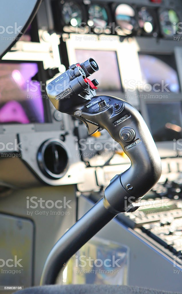 helicopter control stick stock photo