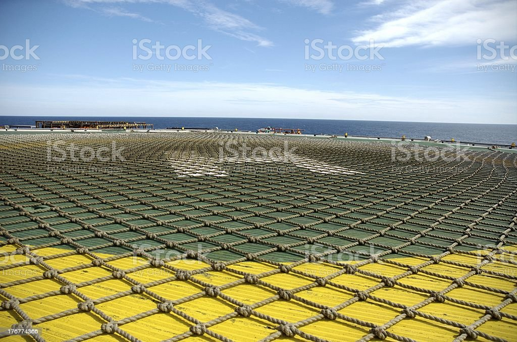 Helicopter deck on offshore oil rig royalty-free stock photo