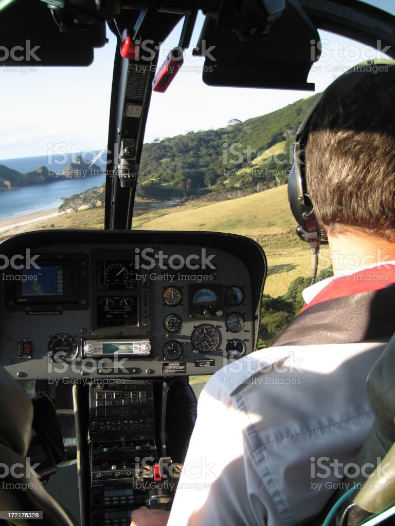 Helicopter flies low level royalty-free stock photo