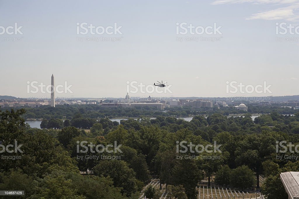 Helicopter Flies Over Washington, DC stock photo