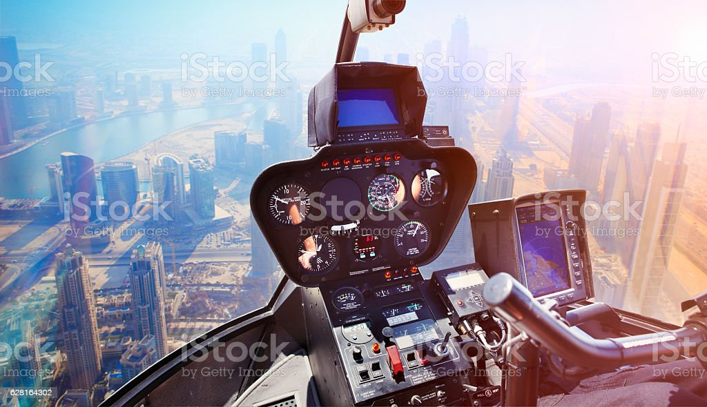 Helicopter flight over Dubai stock photo