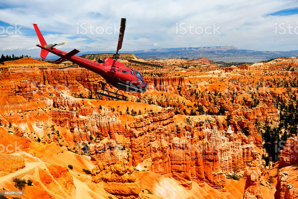 Helicopter Flying over Bryce Canyon, Utah stock photo