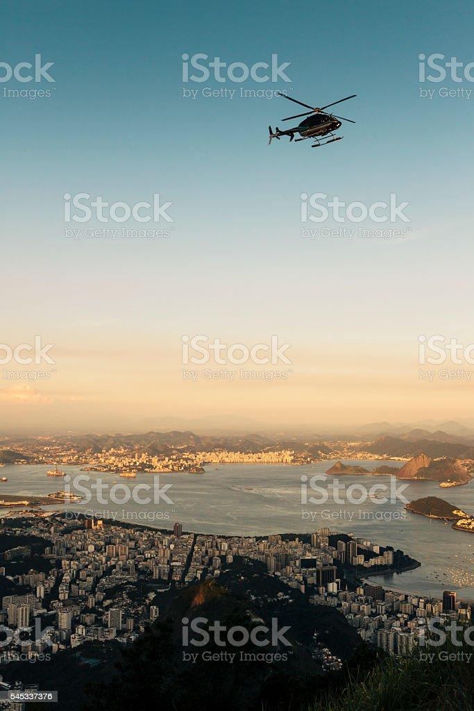 Helicopter flying over Rio de Janeiro, Brazil stock photo