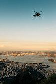 Helicopter flying over Rio de Janeiro, Brazil