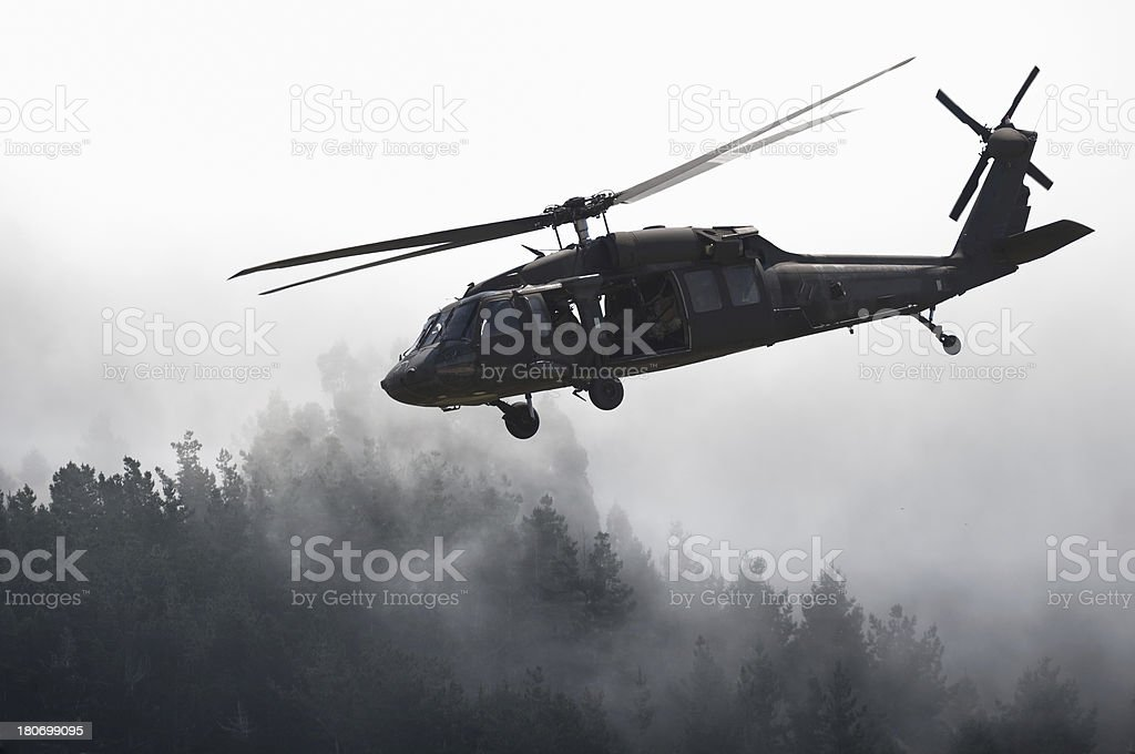 Helicopter Fly-Over Misty Forest royalty-free stock photo