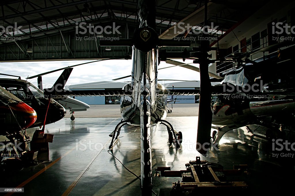 Helicopter hangar stock photo