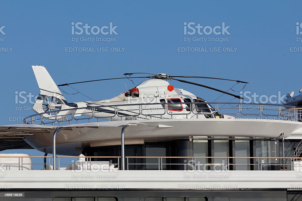 Helicopter in a luxury yacht stock photo