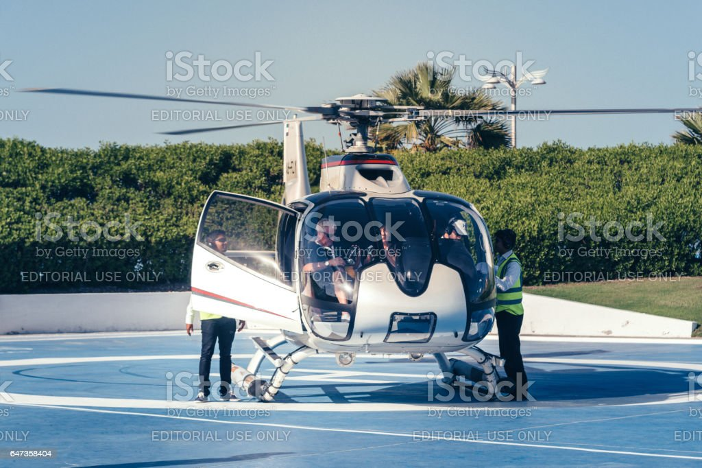 Helicopter in Dubai stock photo