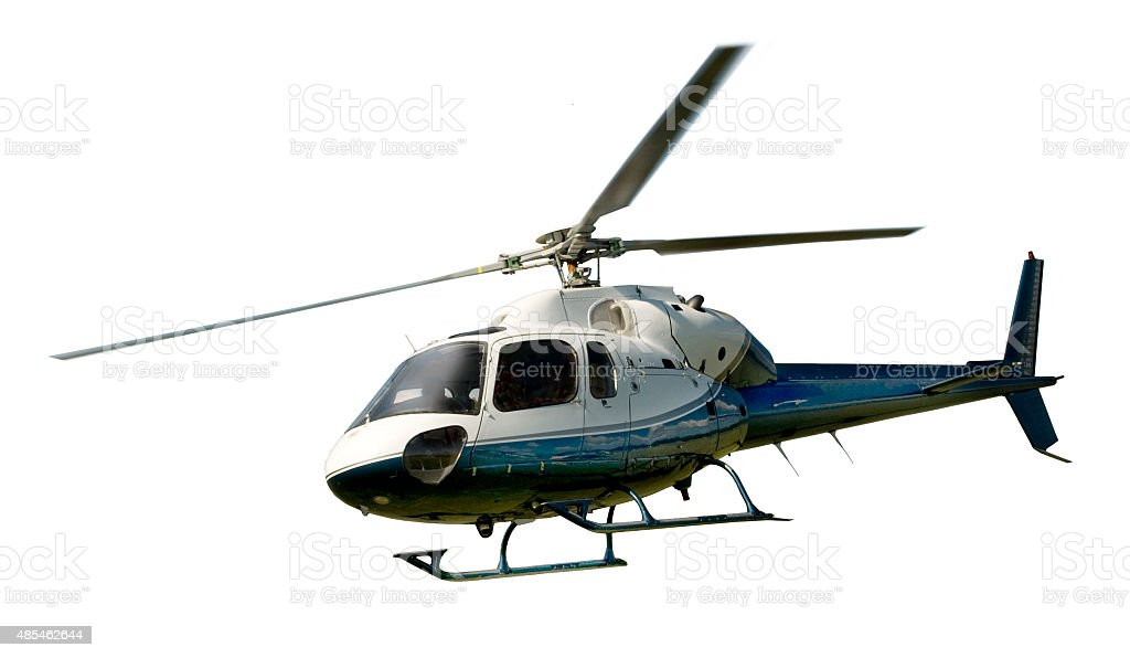 Helicopter in flight isolated against white stock photo