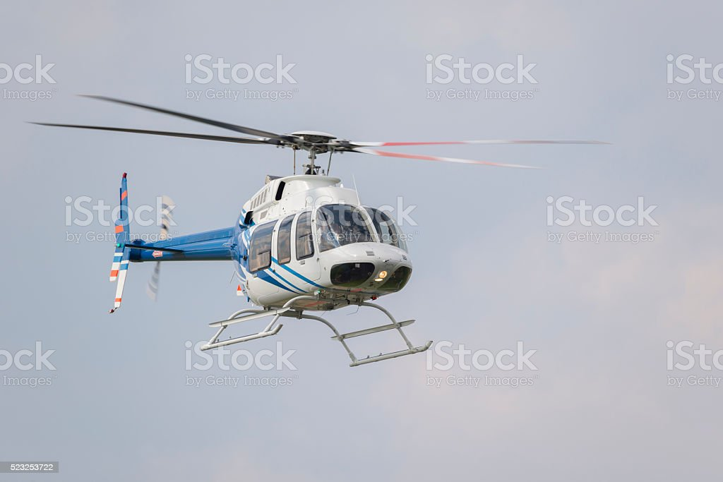 Helicopter in flight. stock photo