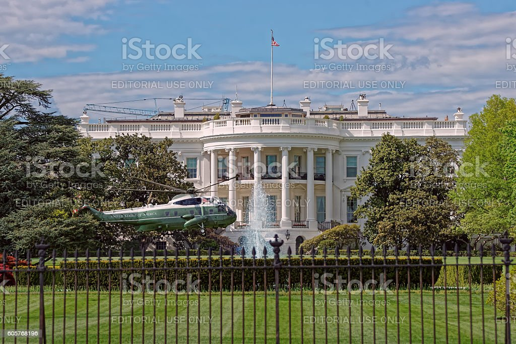 Helicopter in front of White House stock photo