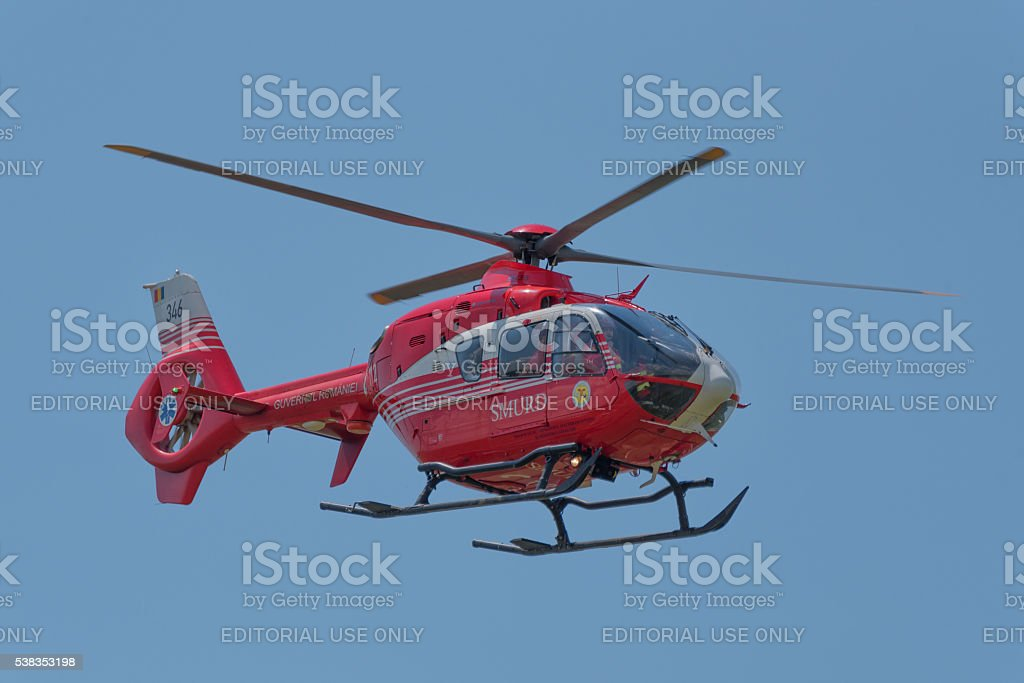 SMURD helicopter in mission stock photo