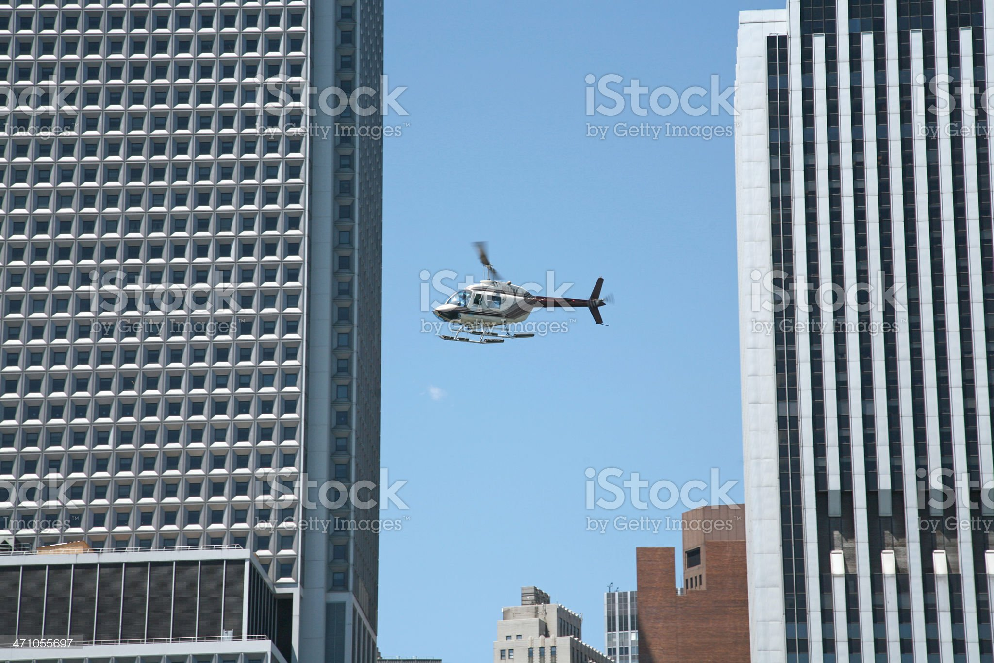 Helicopter In-Flight Over Manhattan royalty-free stock photo
