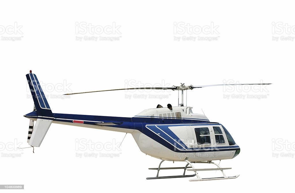 Helicopter isolated on a white background stock photo