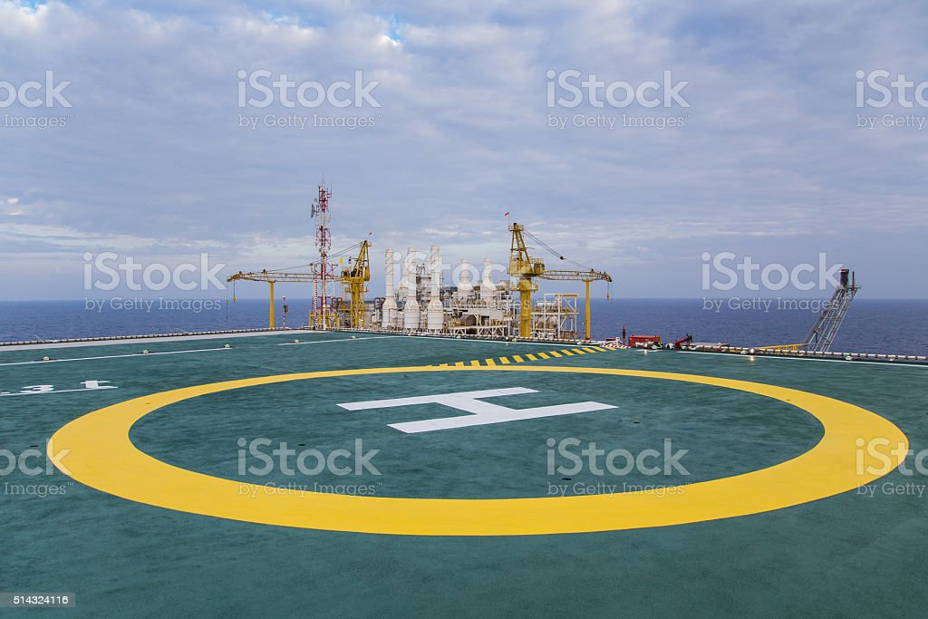 Helicopter landing area clled heli pad stock photo
