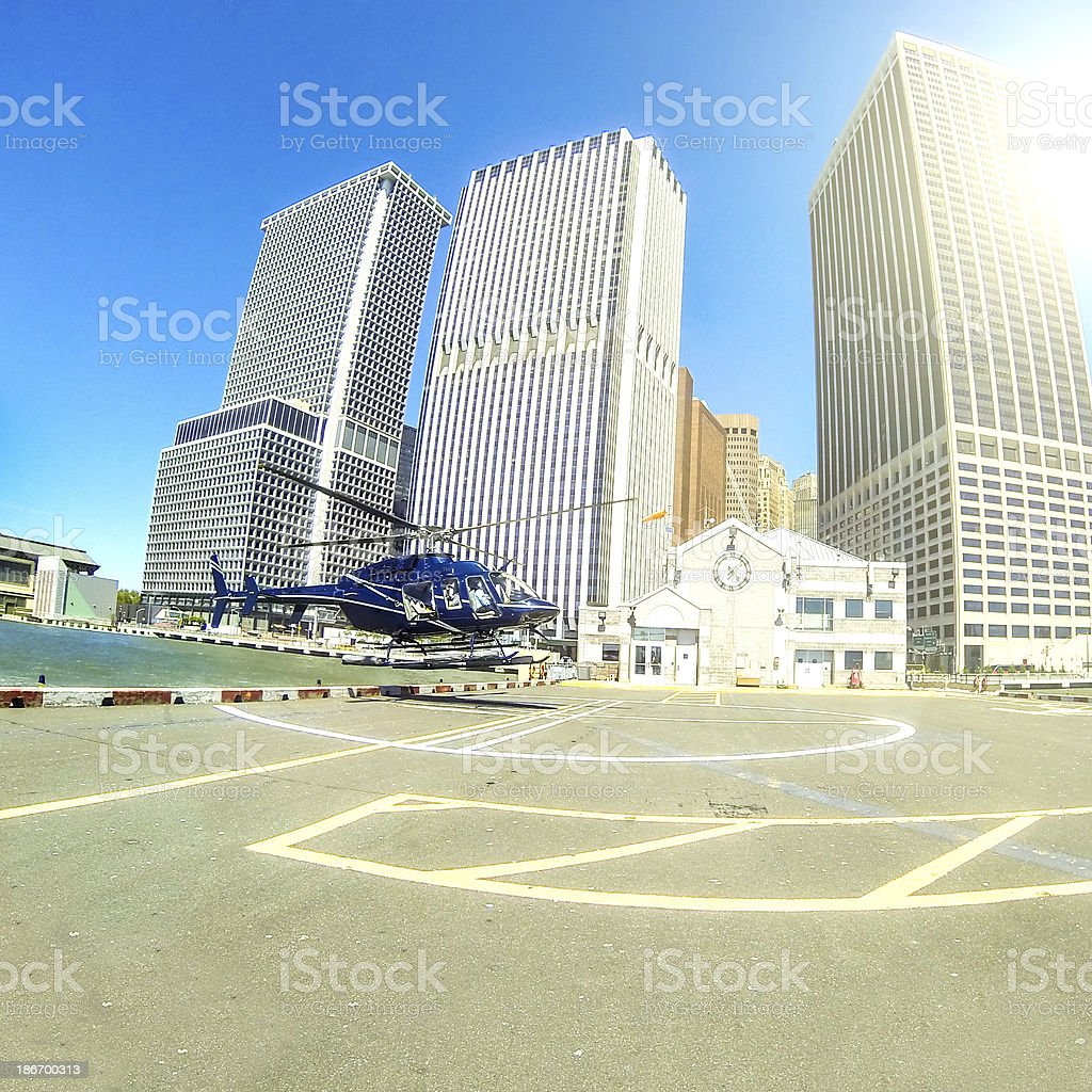 Helicopter landing Manhattan Heliport royalty-free stock photo