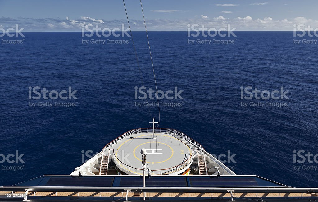 Helicopter Landing Pad on a Large Ship stock photo