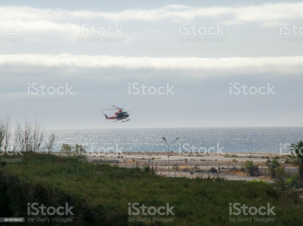 Helicopter landing stock photo