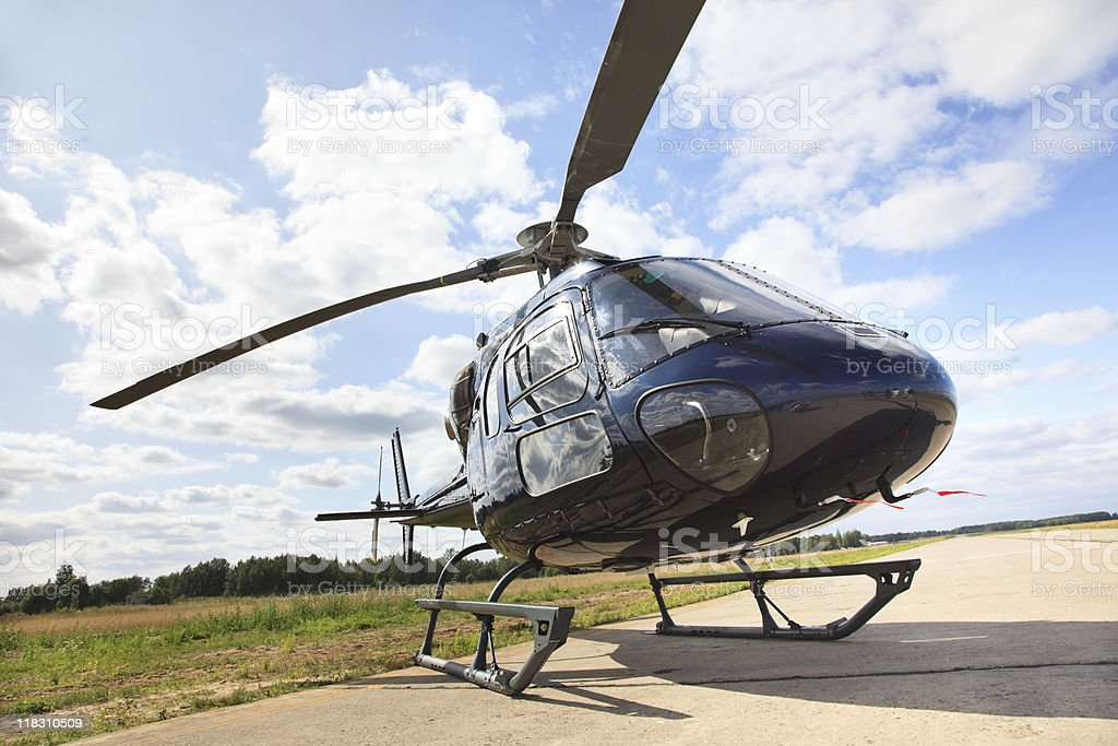 Helicopter landing strip stock photo
