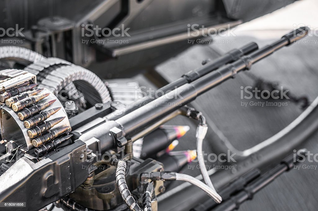 Helicopter machine gun stock photo