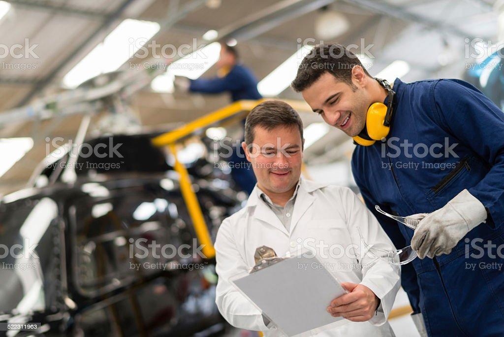 Helicopter mechanics stock photo