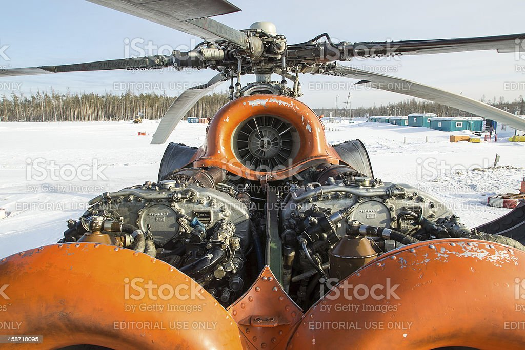 Helicopter Mi-8 power-plant stock photo