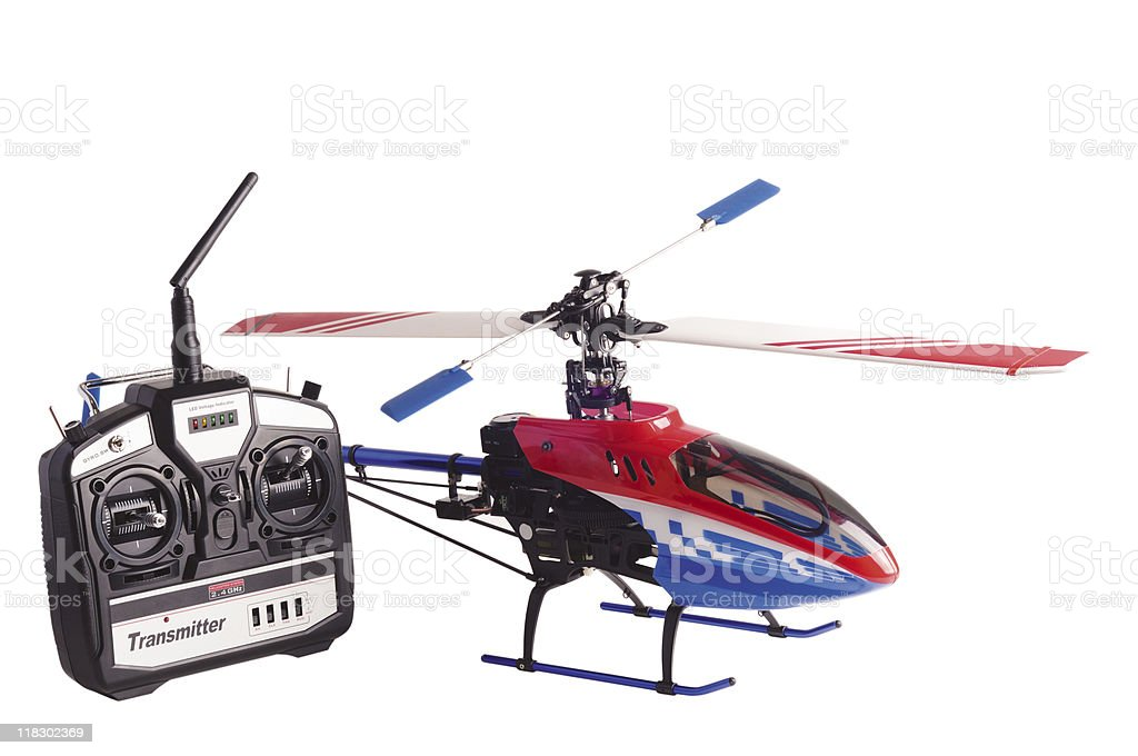 Helicopter model and radio remote control set isolated on white royalty-free stock photo
