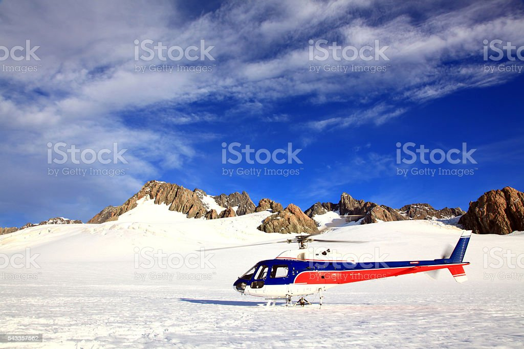 helicopter Mount cook New Zealand stock photo
