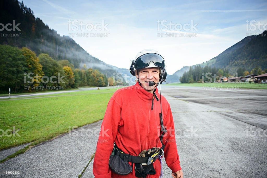 Helicopter Mountain Rescue Paramedic at Aerodrome stock photo
