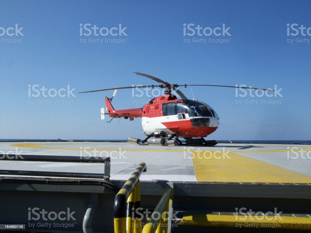 helicopter of oilrig helipad royalty-free stock photo