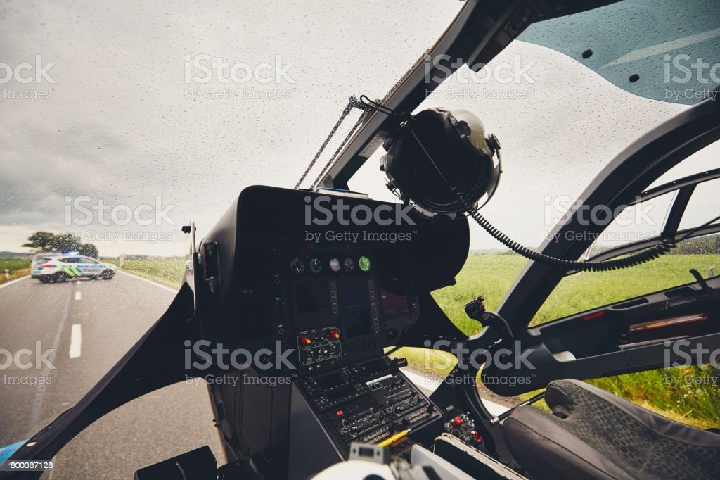 Helicopter of the emergency medical service stock photo
