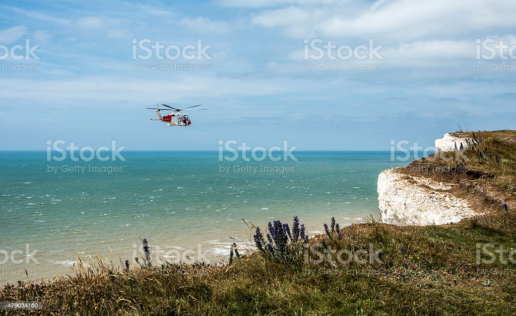 Helicopter off the Sussex Heritage Coast stock photo