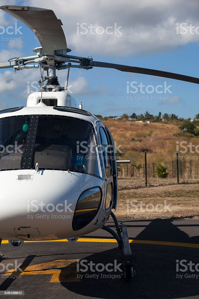 Helicopter on a helipad track stock photo
