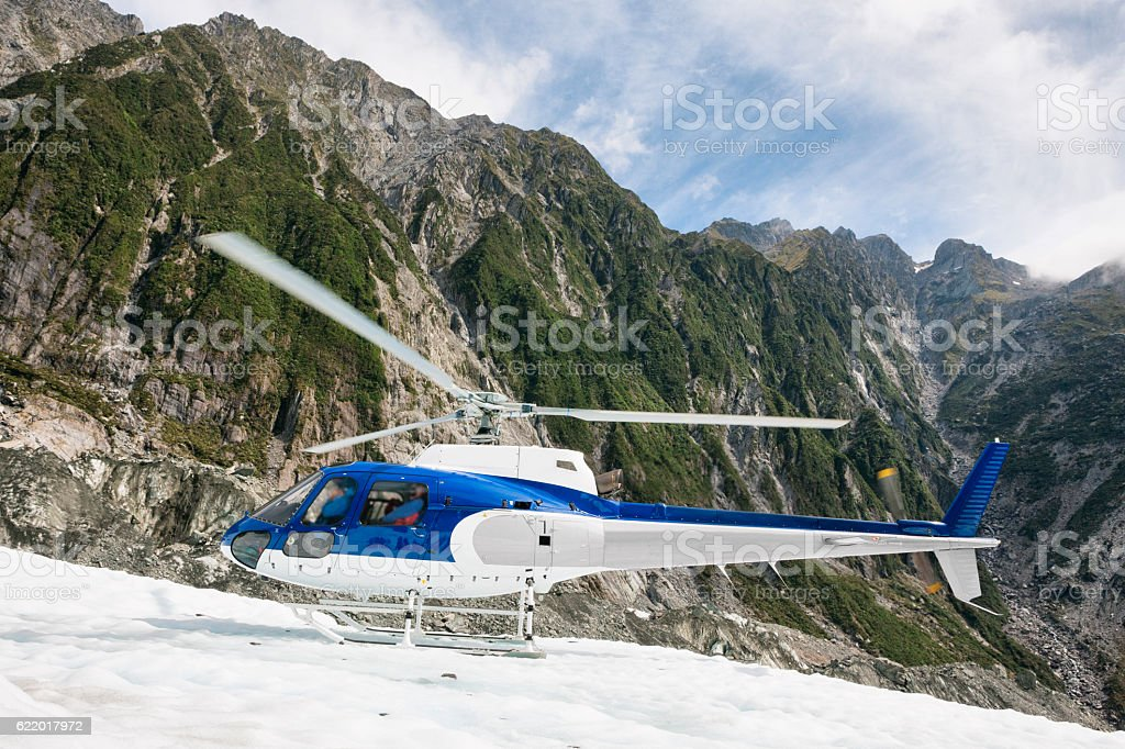 Helicopter on Franz Josef Glacier the Southern Alps, New Zealand stock photo