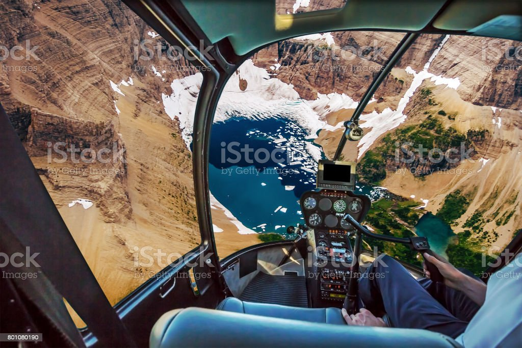 Helicopter on Glacier National Park stock photo