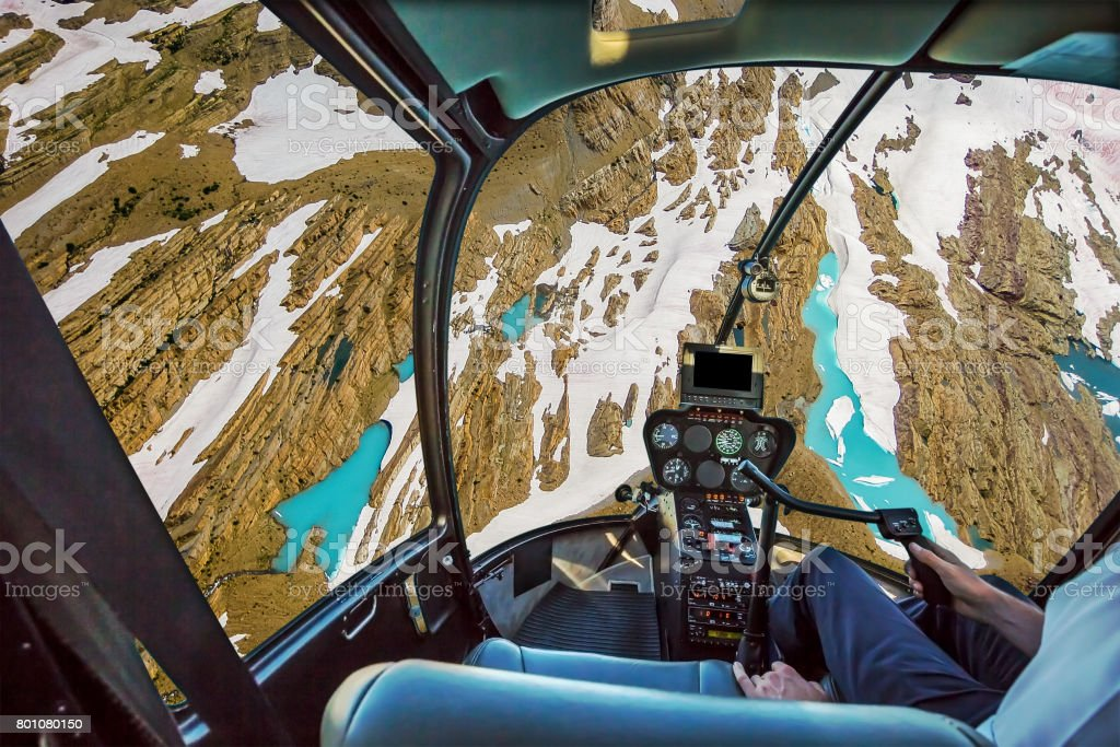 Helicopter on glacier stock photo