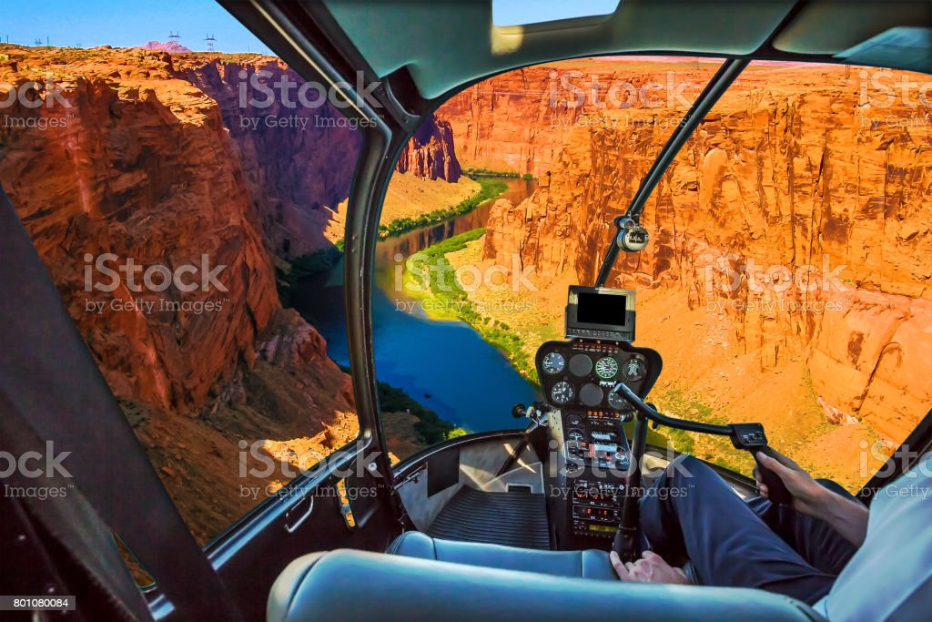 Helicopter on Grand Canyon stock photo
