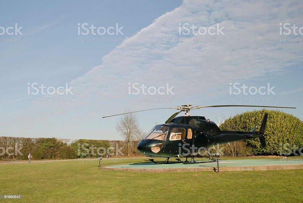 Helicopter on Helipad stock photo