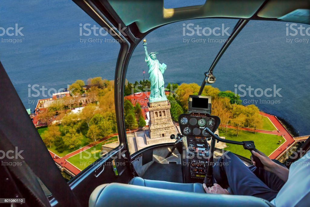 Helicopter on Liberty Island stock photo