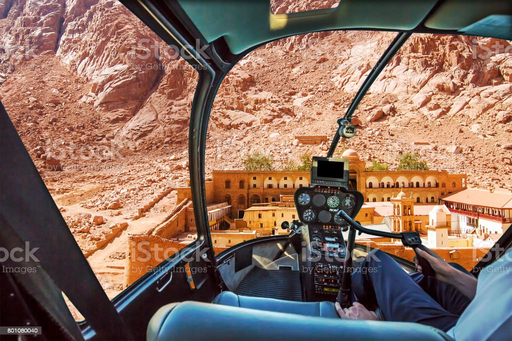Helicopter on Monastery of St Catherine stock photo