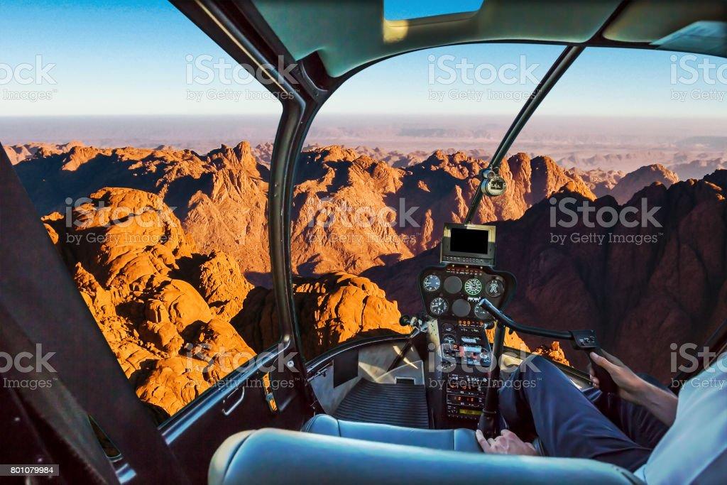 Helicopter on Mount Sinai stock photo