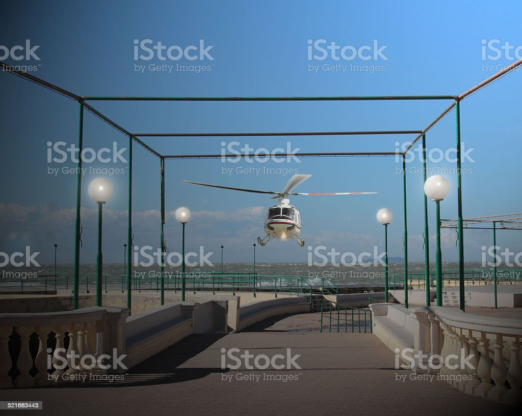helicopter on terrace stock photo