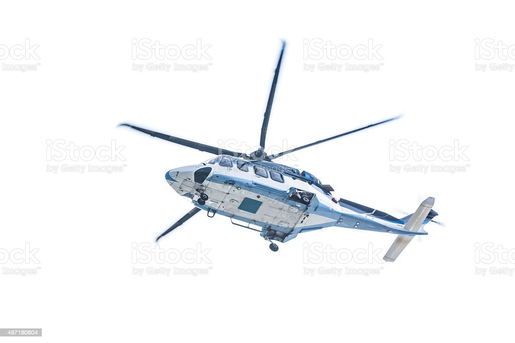 Helicopter on White Background stock photo