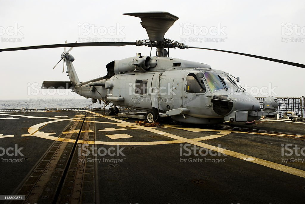 Helicopter onboard warship at sea royalty-free stock photo