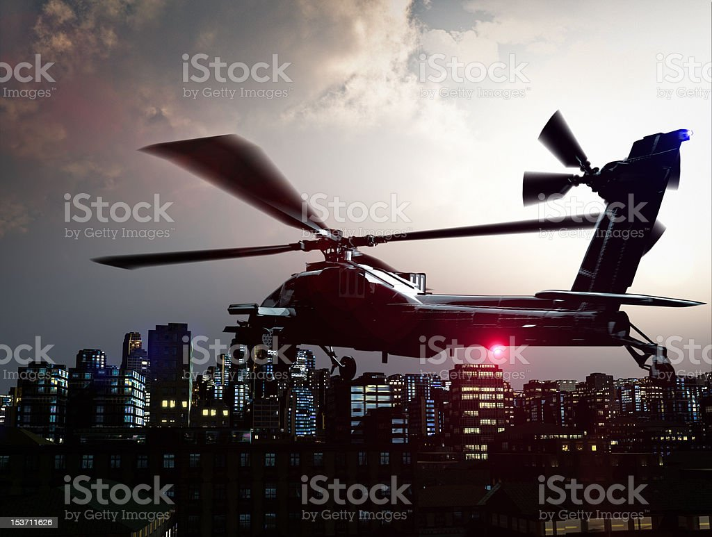 Helicopter over city royalty-free stock photo