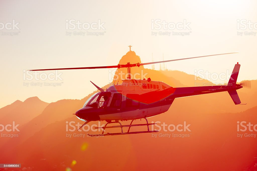 helicopter over the Rio stock photo
