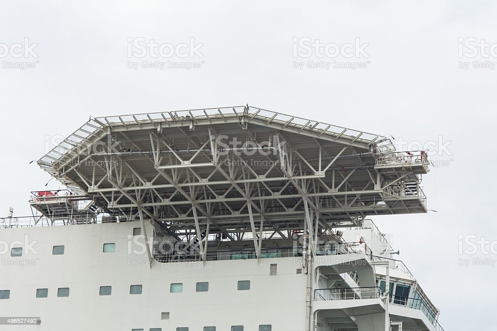 Helicopter Pad on large offshore vessel stock photo
