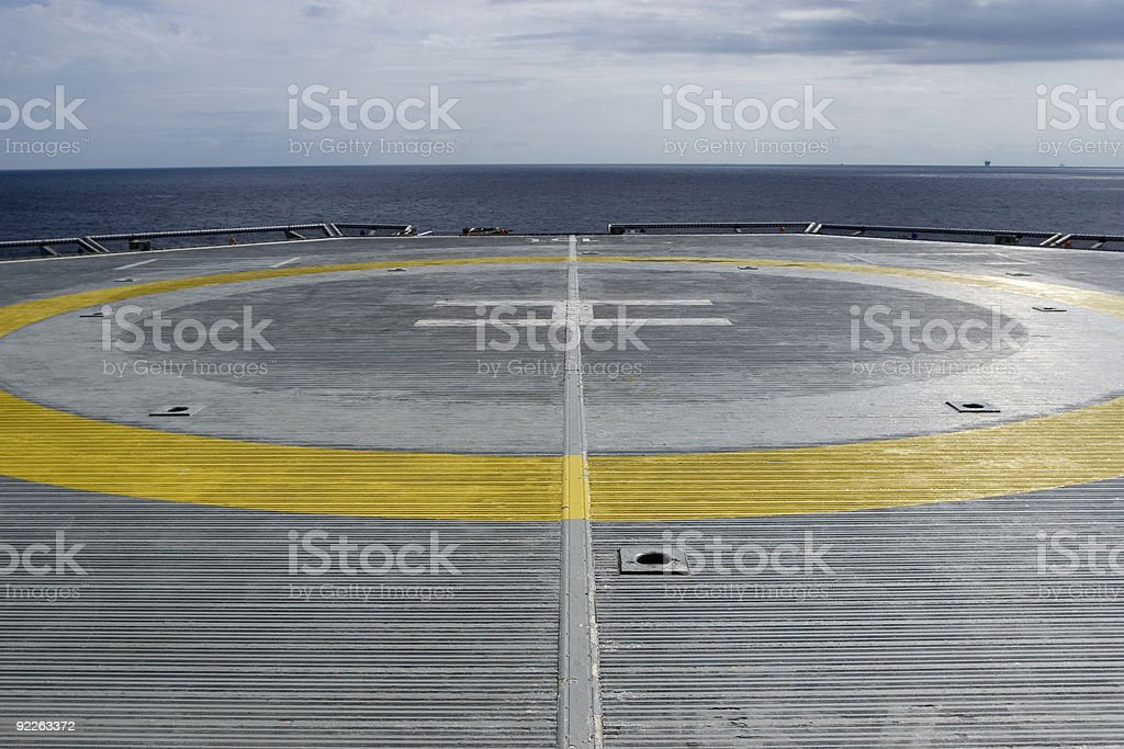 Helicopter pad on the drillship stock photo